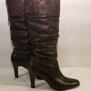 MATISSE BROWN LEATHER SLOUCHY BOOTS